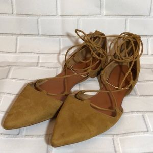 Zara Tan Suede Lace Up Pointed Tie Flats